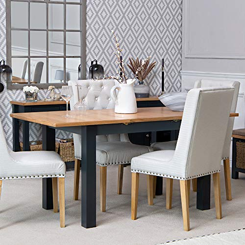 The Furniture Outlet Salisbury Blue Painted Oak 1.2m Butterfly Extending Table