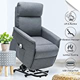 Power Lift Recliner Elderly Electric Lift Recliners with Heat and Massage Fabric Lift Chair for Small Elderly People with USB Port Side Pocket-Gray