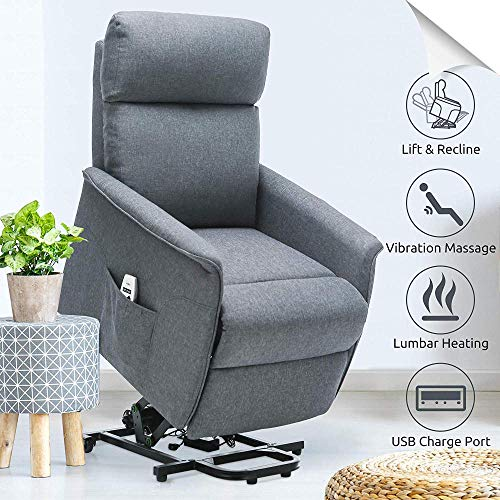 Power Lift Recliner Elderly Electric Lift Recliners with Heat and Massage Fabric Lift Chair for Small Elderly People with USB Port Side PocketGray