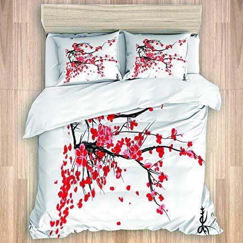 TARTINY Sakura Blossom Jardin de cerisiers Japonais Verano Vintage,Juego de Funda de Edredón,Juego de Ropa de Cama con Funda nórdica de Microfibra y 2 Funda de Almohada - 240 x 260 cm
