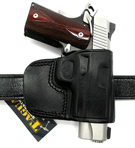 """HOLSTERMART USA TAGUA Right Hand OWB Black Leather Yaqui Style Belt Slide Holster for Kimber Ultra Carry II, Super Carry Ultra, Ultra CDP II, etc. 3"""" 1911"""