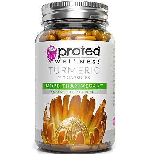 Vegan Organic Turmeric Supplement with Black Pepper - 120 High Strength Turmeric Curcumin Capsules - Your Natural Turmeric Capsules - Made in UK