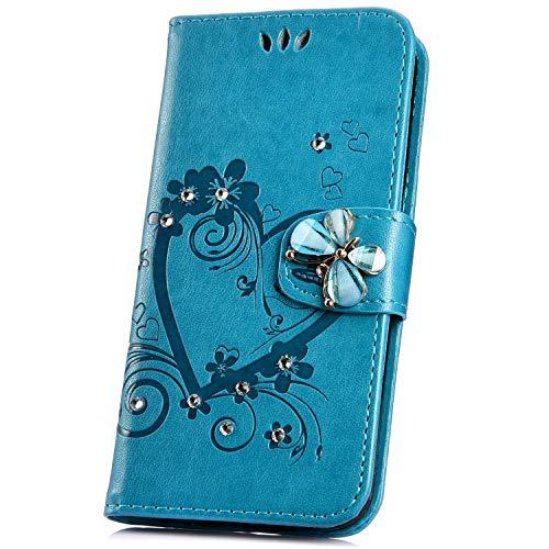 JAWSEU Compatible avec Samsung Galaxy A20e Coque Portefeuille PU Étui Cuir à Rabat Magnétique Coeur d'amour Bling Glitter Brillant Papillon Fleur Diamant Strass Leather Flip Wallet Case,bleu