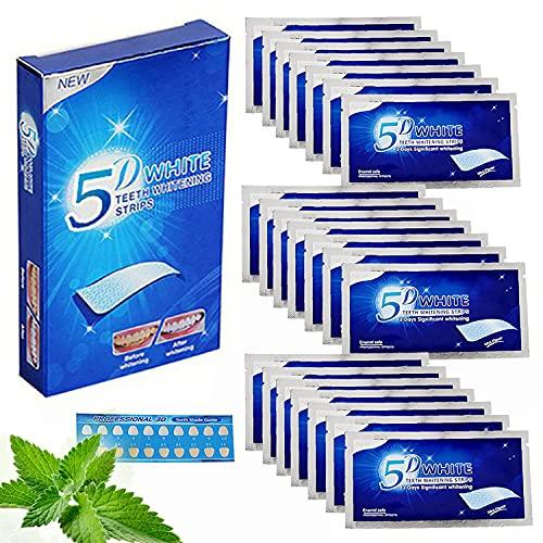 56 pcs Tiras Blanqueadoras Dientes 5D, Blanqueador Dental refresca la respiracion, Gel Tiras blanqueadoras de dientes, Blanqueamiento Dental eliminacion de manchas de dientes, Sabor a menta
