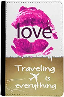 Valentine's Day Pink Lip Love Traveling quato Passport Holder Travel Wallet Cover Case Card Purse