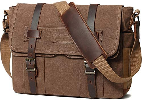 Messenger Bag for Men 15 6 Inch Rugged Waxed Canvas Laptop Bag Waterproof Genuine Leather Briefcase product image