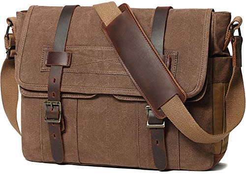 [$35.69 - 40.79] Messenger Bag for Men 15.6 Inch Canvas Laptop Computer Bag Leather Briefcase  2