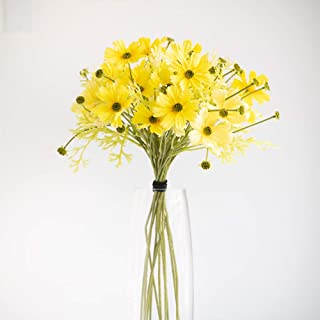 THYME TO BLOOM Artificial Decorative Daisy Silk Flowers for Home Decor or Wedding Party, Vase Not Included (Yellow)