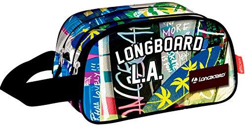 MONTICHELVO Kosmetiktasche mit 2 Abteilungen Longboard 'Street' Kulturbeutel, 40 cm, Mehrfarbig