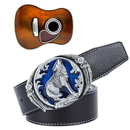 yotijar Vintage Black Leather Straps Cinturón Cowboy Country 3D Guitarra Hebilla Hombres...
