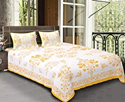 BhagwatiUdyog Block Print Double Bedsheets with 2 Pillow Covers, Yellow