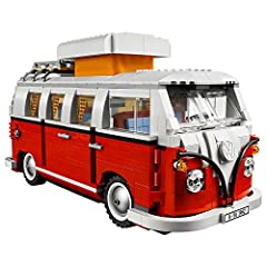 "Build the classic 1962 camper van packed with authentic features! Includes ""V"" shaped color split, ""splittie"" safari windshield, pop-up roof, textile curtains, ""boxer"" engine, wing mirrors and folding furniture LEGO Creator Expert building toys are c..."