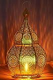 Lanterna portacandele orientale in metallo - Portacandele per giardino - Anaram Oro 32cm - trasmettere una buona atmosfera - passare un buon momento in giardino