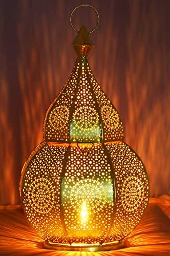 Orientalische Laterne aus Metall Anaram Gold 32cm | orientalisches Marokkanisches Windlicht Gartenwindlicht | Marokkanische Metalllaterne für draußen als Gartenlaterne, oder Innen als Tischlaterne
