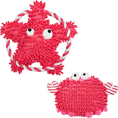 Blueberry Pet Pack of 2 Chewy Toys for Puppies & Dogs, Red Squeaky Crab and Tugging Sea-Star Toy with Rope