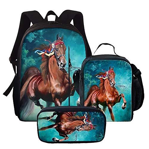 Chaqlin Mochila Niños Niños Novedad 15 Pulgadas Bolsas de la Escuela Set Bolsas de Lunchbags Estuche para Niños Niñas Duraderas Multicolor Cool Horse-1 talla única