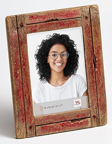 walther design Dupla Portraitrahmen 13x18 cm, rot/natur
