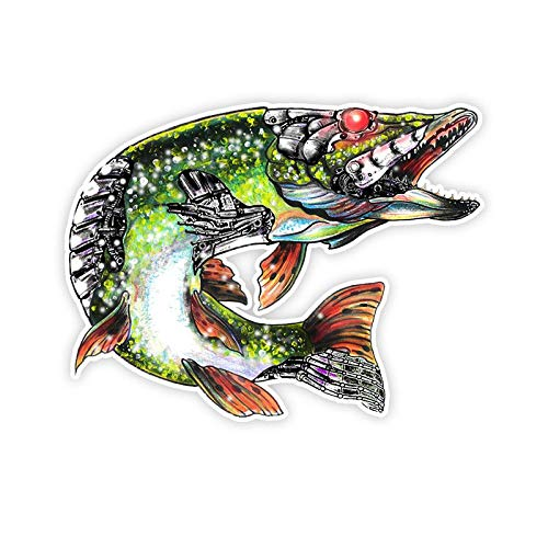 ZQZL Car Stickers Personalized fun cover scratch colorful fish car sticker funny car sticker shape removable decal 16cm * 12cm