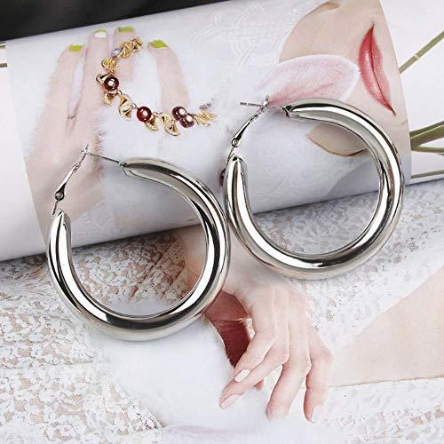 WoJogom Mujer Pendientes de Oreja Arete Earring Pendientes De Metal Redondos Gruesos Populares De Moda