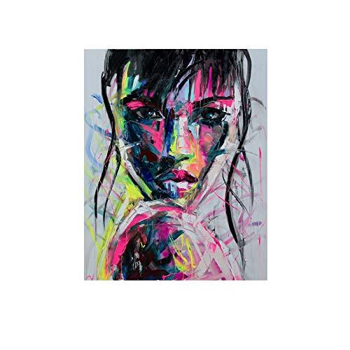 wtnhz Kein Rahmen Kunst Mädchen abstrakte Bilder Leinwand Malerei Wandkunst für Wohnzimmer Moderne dekorative Plakate und Ptints 60x80cm