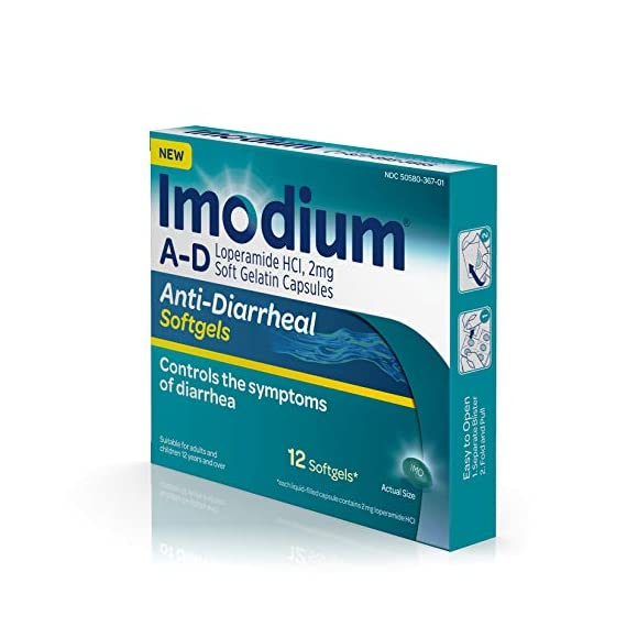 Imodium a-d anti-diarrheal medicine softgels, 2 mg loperamide hydrochloride, 12 ct. 9 12-count package of imodium a-d anti-diarrheal softgels with loperamide hcl to help control and effectively treat diarrhea symptoms, often in just one dose the proven formula of this adult anti-diarrheal medicine works with your body to slow down your system and restore its natural rhythm and balance so you can get back to doing the things you love each softgel capsule contains 2 milligrams of loperamide hydrochloride to help control symptoms of diarrhea due to acute, active and traveler's diarrhea and is suitable for use by both children ages 12 and up as well as adults when used as directed