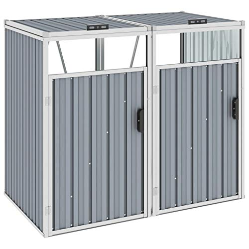 vidaXL Mülltonnenbox für 2 Mülltonnen Klappdeckel Mülltonnenverkleidung Müllbox Müllcontainer Gartenbox Gerätebox Grau 143x81x121cm Stahl