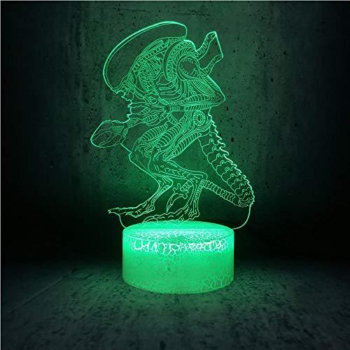 3D Illusion Lamp Led Night Light Action Movie Alien Vs Predator Prometheus USB 7 Colors Changing Strange Alien Monster Office Decor