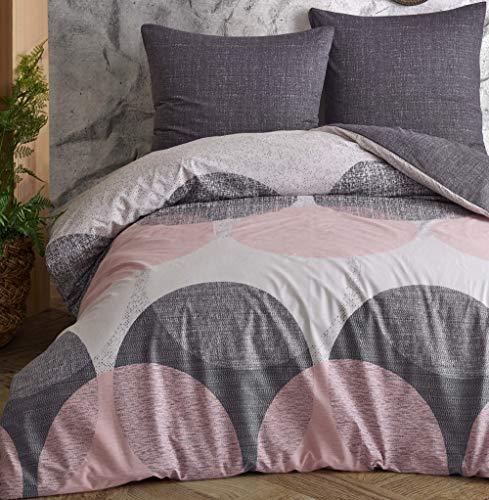 Leonado Vicenti - Bettwäsche-Set 100% Baumwolle Renforce Bezug Kissen Schlafzimmer Set Moderne Farben wählbar, Anzahl der Teile:2-teilig 155x220 cm, Farbe, Design:Weiß. Kreise