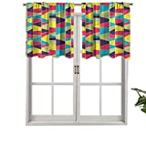 Hiiiman - Cortinas para ventana de cocina, diseño de mosaico trapezoidal, juego de 1, 132 x 45 cm para cocina, baño y café