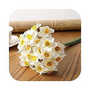 Johoo-Bikinis 6pcs/Lot Home Room Artificial Simulation Narcissus Flower Living Room Window Decor Fake Flowers Wedding Scene Decor Daffodil