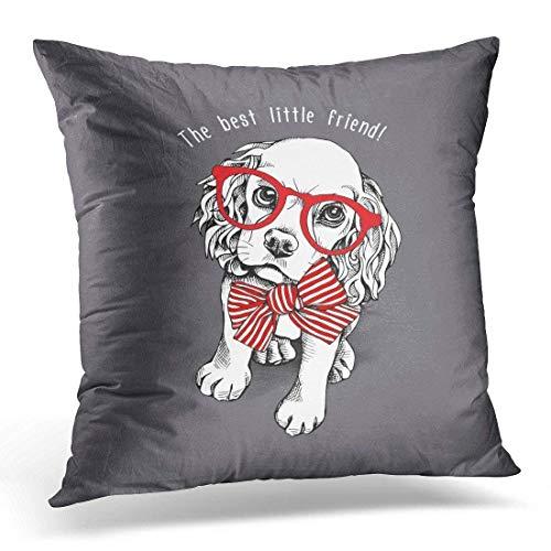 Mesllings - Funda de almohada decorativa para el hogar, diseño de cachorro de perro blanco en lazo rojo a rayas y con gafas sobre pajarita gris con pajarita decorativa, cuadrada, 45,7 x 45,7 cm, funda de almohada 2019