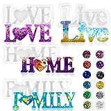 Daohexi Formas de resina epoxi, juego de 4 moldes de resina para moldear con texto en inglés 'Live/Love/Home/Family' con 12 lentejuelas de purpurina