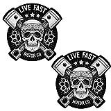 Skino 2 x Auto-Adhésif Autocollants Stickers Vinyle Tête de Mort Skull Crâne Live...