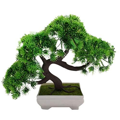 HEALLILY Artificial Juniper Bonsai Tree Fake Plant Decoration Potted Artificial House Plants Japanese Pine Bonsai Plant for Decoration Desktop Display Zen Garden Decor