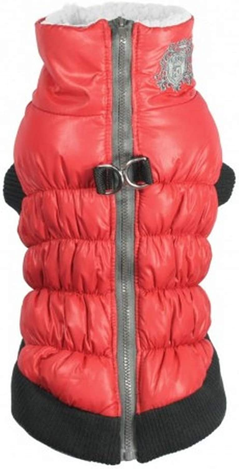 Hip Doggie Crown Dog Puffer Gilet (XS) (Red)