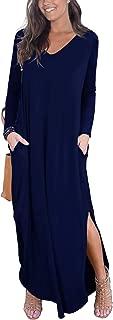 Women's Casual Loose Pocket Long Dress Long Sleeve Split Maxi Dresses
