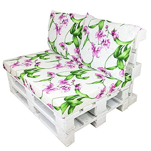 Conjunto de Cojines para Euro Palets / Estampados veraniegos / Decora tu Jardín o Balcón con Cojines Hechos en España (Orquídeas, 3)
