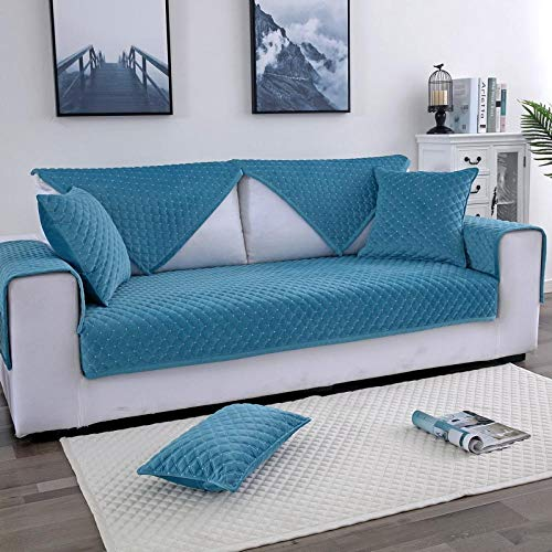 YUTJK Polyester Sofa Cover, L Sofa cover, Furniture cover, Sofa Cover, Sofa Protector,Twill Plaid Plush Sofa Carpet,For 1 Seater Sofa,Blue