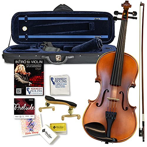 Bunnel G2 Violin Outfit 4/4 Full Size By Kennedy Violins - Premium Carrying Case and Accessories Included - Solid Maple Wood and Ebony Fittings
