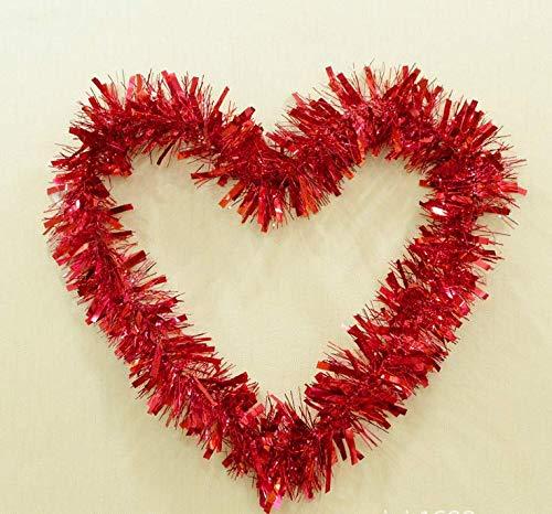 Lametta Metallisch Girland Gedreht, für Weihnachtsbaum-Dekorationen Geburtstage Partyzubehör (12M) (Rot)