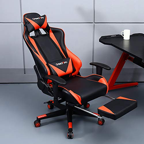 GAMEMAD High Back PU Leather Swivel Gaming Chair with Adjustable Armrest Lumbar Support Headrest Footrest Racing Office Chair (RED) chair gaming red