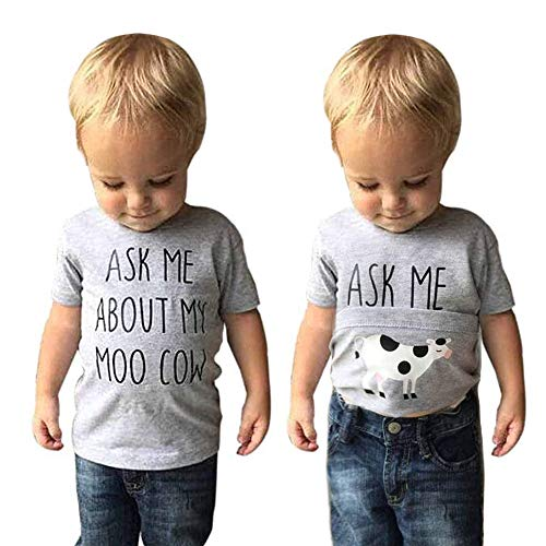 Baby Ask me About My moo Cow/T-rex, Toddler Kids Baby Boys T-Shirt Short Tops Funny Tees (Gray #1, 100(2-3 T))
