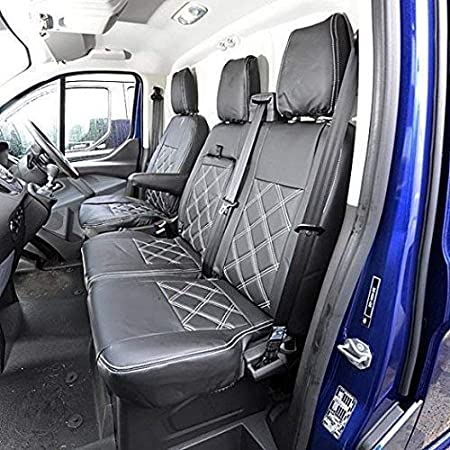 TEXMAR Designed to fit Ford Transit MK7 2006-2012 RIGHT and LEFT HAND DRIVER RED ECO LEATHER Seat Covers 2 1 single 1 double 1
