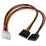 StarTech.com PYO2LP4SATA - Adaptador Cable Divisor de alimentación LP4 en Y Molex 4 Pines a SATA - 2X Hembra SATA y 1x Macho LP4 - Splitter, Color Rojo