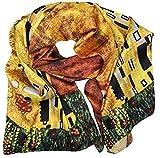 Goodforgoods Pañuelo 100% seda para mujeres, señoras con diseño de las pinturas de Van Gogh, irreversible, suave, delicado y ligero con las medidas de 170x63 cm. (Amarillo)