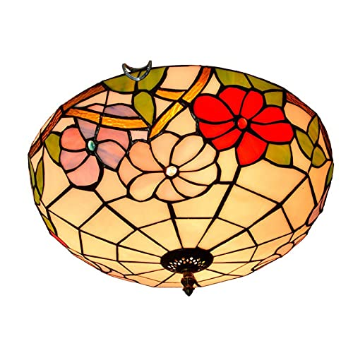 Lámparas de techo de estilo tiffany con vitrales, lámpara colgante de techo Morning glory con decoración de cuentas de cristal, montaje empotrado, para dormitorio, sala de estar, balcón, Pasillo