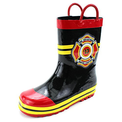 Fireman Kids Firefighter Costume Style Rain Boots (11/12 M US Little Kid, Fire Dept Black)