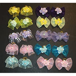 JJ Contour 30 Dog Hair Bows Easter Collection- Pink/Yellow/Blue/Green/Purple with Flower and Bead