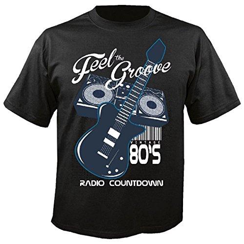 T-shirt Remera ritme gitaar radio versterker rockband Techno Funky Jazz Festival Alma Trance Huis Hiphop DJ Hip Hop in zwart