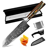 MYVIT Chef Knife Kitchen Knife 7 inch Chefs Damascus Santoku Knife Japanese Cooking Sushi...